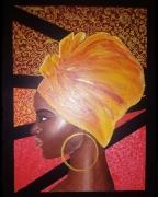 tableau personnages femme afrique foulard africaine : Femme au foulard