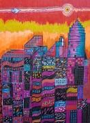 dessin villes streets urbain orange violet : Paysage urbain