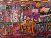 dessin autres ville orange violet fete : La fête