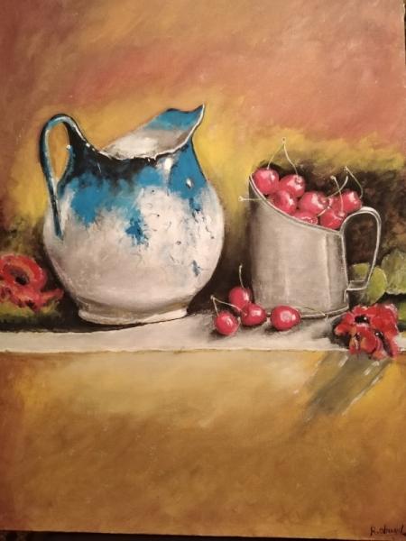 TABLEAU PEINTURE vase risin fleur citron Nature morte Gouache  - algolla