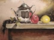 tableau fruits theier citron pomme resin : la nature morte