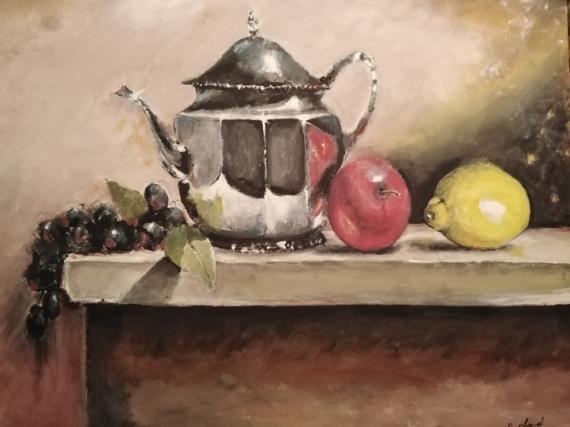 TABLEAU PEINTURE théier citron pomme résin Fruits Gouache  - la nature morte