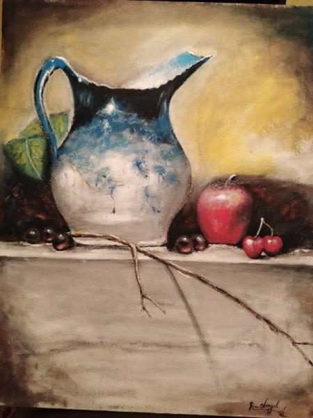 TABLEAU PEINTURE pomme vase resin citron Fruits Gouache  - la nature morte