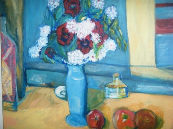 TABLEAU PEINTURE vase bleu copie fleurs Acrylique  - L'autre vase bleu