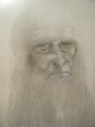 dessin personnages vieux peintre italien scientifique : Léonard