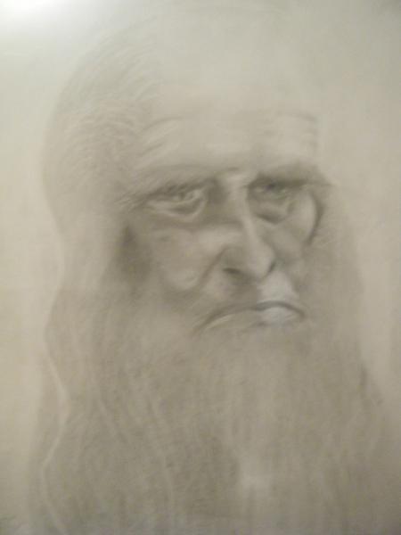 DESSIN vieux peintre italien scientifique Personnages Crayon  - Léonard