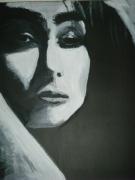 tableau personnages italienne portrait farouche sensuelle : L'Italienne