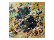 tableau abstraits dechet recyclage dore : Seconde Vie