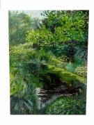 tableau paysages nature eau arbres reflets : Clos Lucé