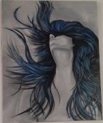 tableau personnages mouvement femme liberte bleu : Epanouissement