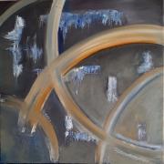 tableau abstrait abstrait lignes courbes chemin : Elle et lui