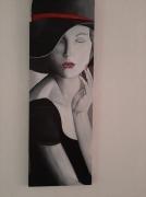 tableau personnages femme chapeau sensuelle noir et blanc : L'intemporelle