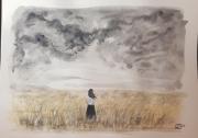tableau paysages silhouette orage champs personnage : Dans les blés