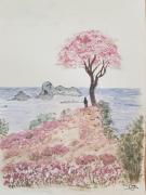 tableau paysages personnage arbre falaise ocean : En surplomb