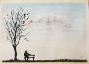 tableau personnages personnage banc arbre silhouette : Sur mon banc
