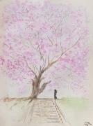 tableau autres personnage arbre rose nature : Magnolia