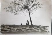 tableau personnages silhouette arbre chat fillette : Lecture surveillée