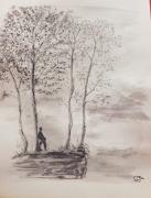 tableau personnages arbres silhouette nature monochrome : Réflexion