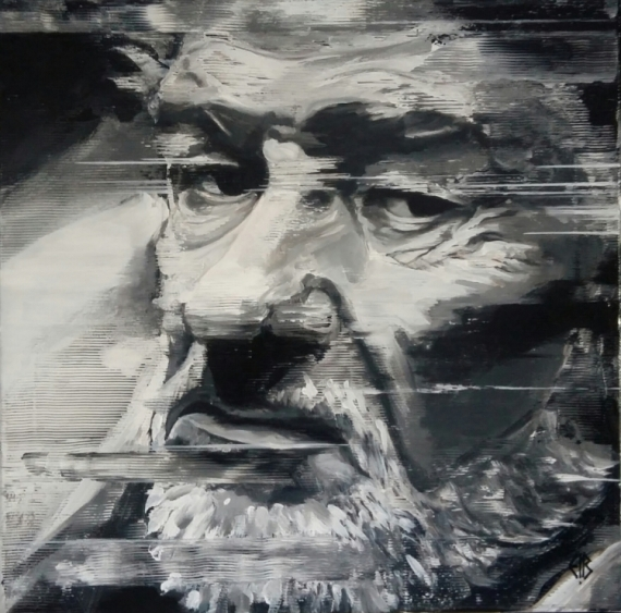 TABLEAU PEINTURE EDDY MITCHELL ARTISTE ACTEUR PORTRAIT Personnages Acrylique  - EDDY MITCHELL