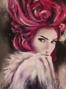 tableau personnages portrait de femme rose decoration interieur : PORTRAIT DE FEMME
