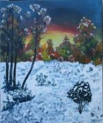 tableau paysages prairie bois neige arbres : Prairie enneigée