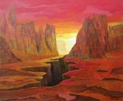 tableau paysages desert crevasse amerique montagne : Désert américain