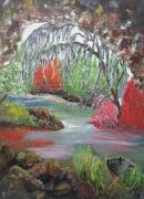 tableau paysages marais grotte vegetation barque : Marais poitevin