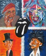 tableau personnages rollingstones caricature rock and roll : CARICATURE DES STONES