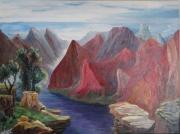 tableau paysages montagnes lac couleurs vegetation : LAC DE MONTAGNE