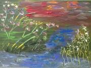 tableau abstrait asie couleurs marais fleurs : PAYSAGE D'ASIE