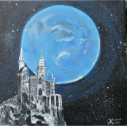 tableau paysages lune monastere nuit etoile : le silence