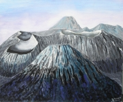 tableau paysages volcan montagne asie : volcan