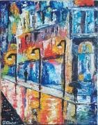tableau villes rue colore huile couteau : Rue