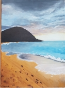 tableau paysages mer plage ile huile : Guadeloupe