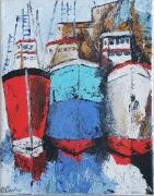 tableau marine bateau huile couteau colore : Bateaux