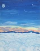 tableau paysages lune nuit nuage montagne : Aurore