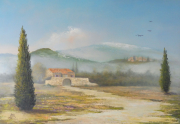 tableau paysages paysage provencal huile toile : Mas Provençal