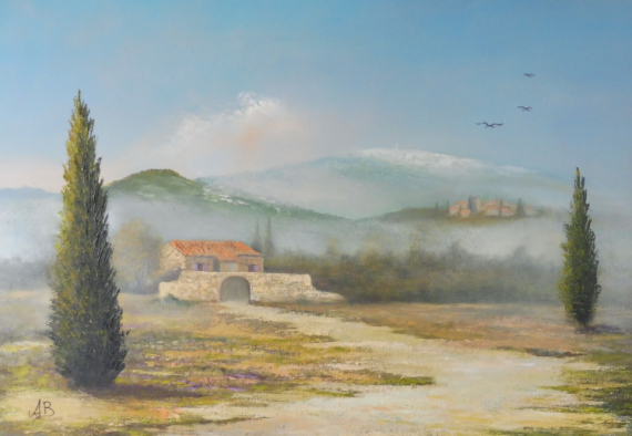 TABLEAU PEINTURE Paysage Provençal huile Toile Paysages Peinture a l'huile  - Mas Provençal