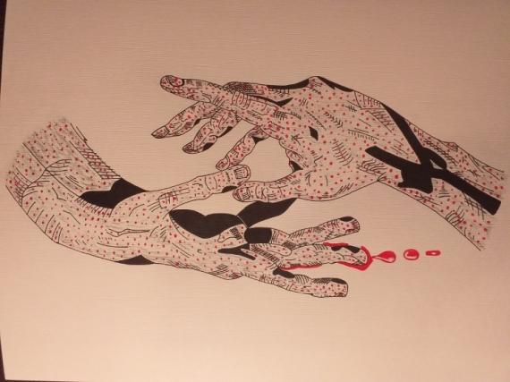 TABLEAU PEINTURE Acrylique  - Les mains assassines