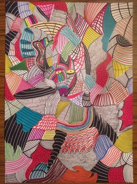DESSIN Abstrait Feutre  - The Psychedelic Cat