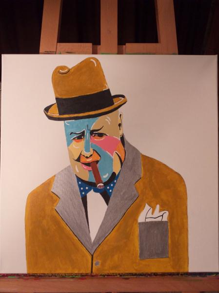 TABLEAU PEINTURE Personnages Acrylique  - Winston Churchill