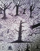 tableau paysages nature arbre tete illusion : NATURE MORTE