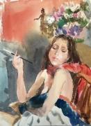 tableau nus aquarelle nus portrait belle epoque : Pause