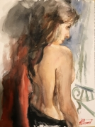 tableau nus aquarelle nus portrait amour : Anna