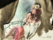 tableau nus aquarelle nus portrait impressionnisme : Pré de la fenêtre