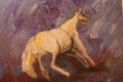 tableau animaux bleu cheval : Ruade