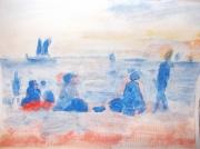 tableau marine : plage bleue