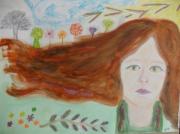 dessin abstrait : la vie au bout des cheveux