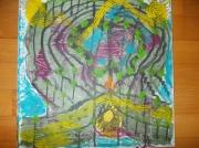 tableau abstrait : l'ile aux soleils