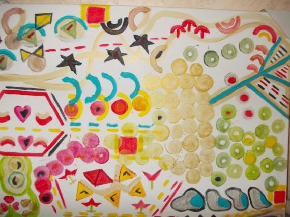 TABLEAU PEINTURE formes Abstrait Acrylique  - formes